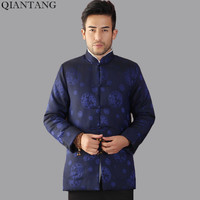 Top Selling Autumn Winter Padded Jacket Navy Blue Chinese Men Long Sleeve Coats Thicking Outerwear Size