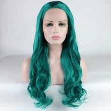 Fantasy Beauty Women Dark Green Lace Front Wig Synthetic Hai