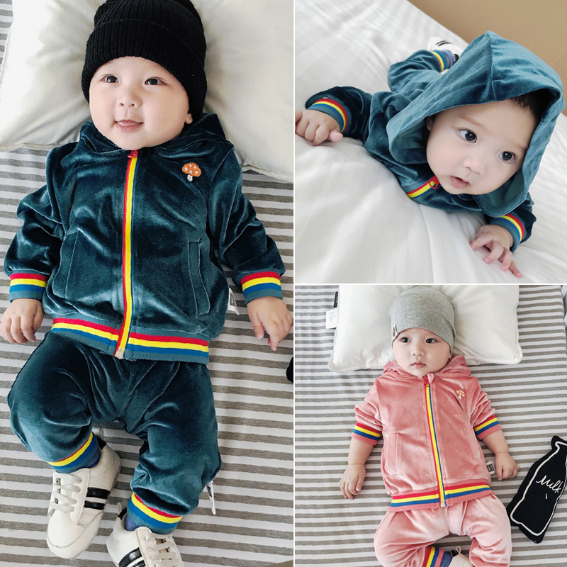 Infant Baby Clothes Set Boys Girls Hoodie Top Coats T shirts+Long Pants Sets South Korea Velvet Jumpsuits Boys Girls Sweatshirts худи boys hoodie