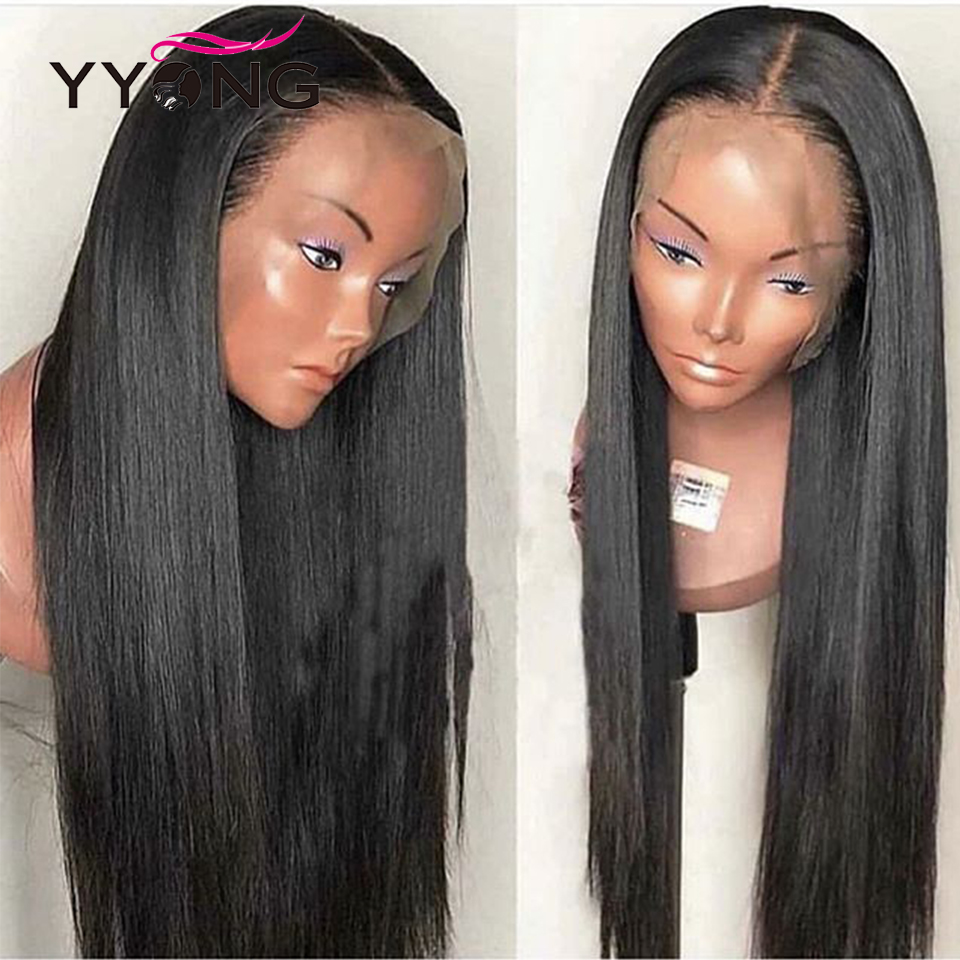 YYONG 12x3 Straight Lace Front Wigs 100 Human Hair Lace Front Wigs Medium Brown Lace Wigs Peruvian Remy Hair Lace Front Wig in Human Hair Lace Wigs from Hair Extensions Wigs