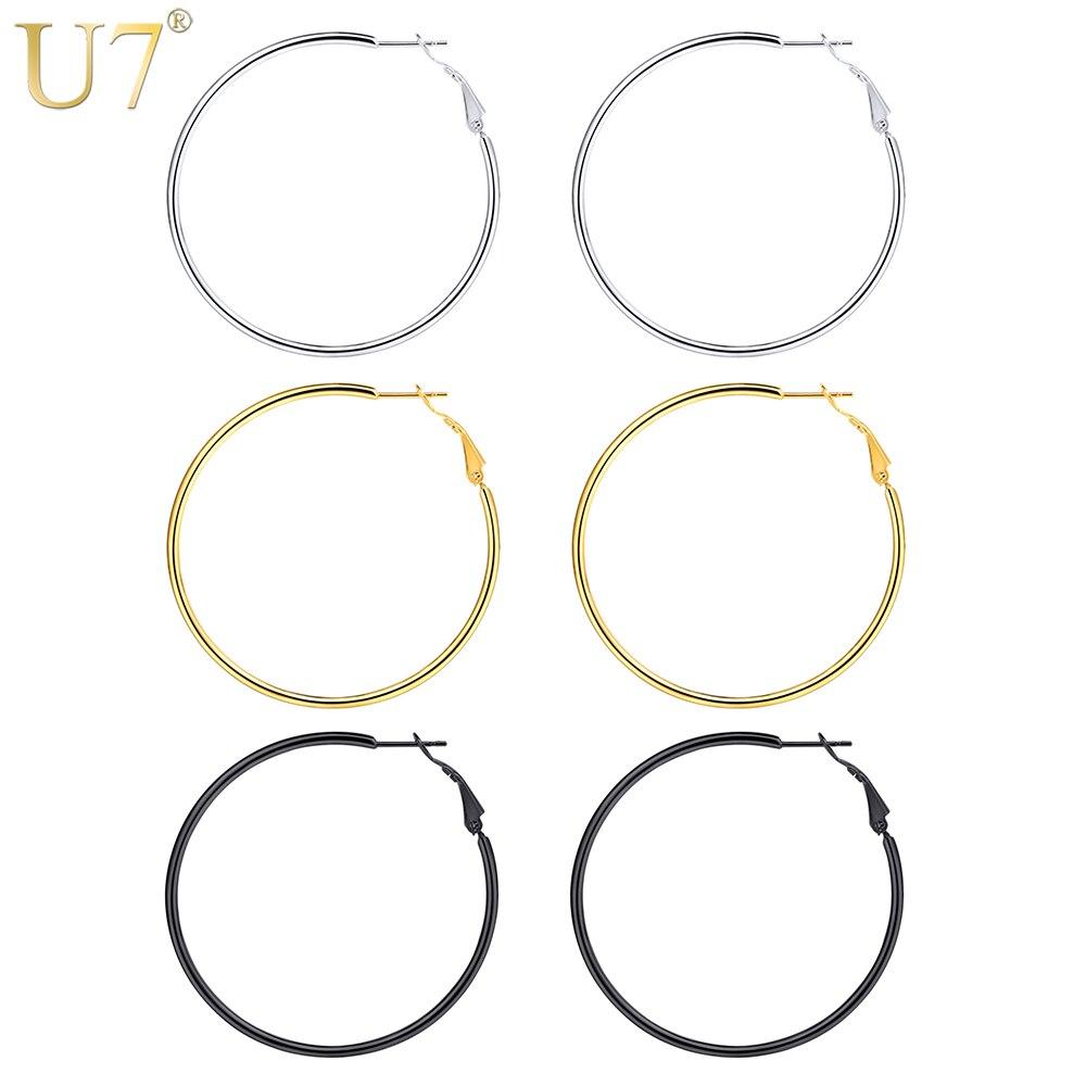 U7 Minimalist Round Hoop Earrings For Women Stainless Steel Gold Black Color Circle Earring Fashion Jewelry oorbellen aros E1010 in Hoop Earrings from Jewelry Accessories
