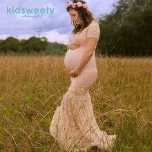 Nyári csipke női ruha Photo Shoot Maxi Mermaid anyasági ruha Anyasági ruha terhes fotózás Női hosszú ruha Vestiods