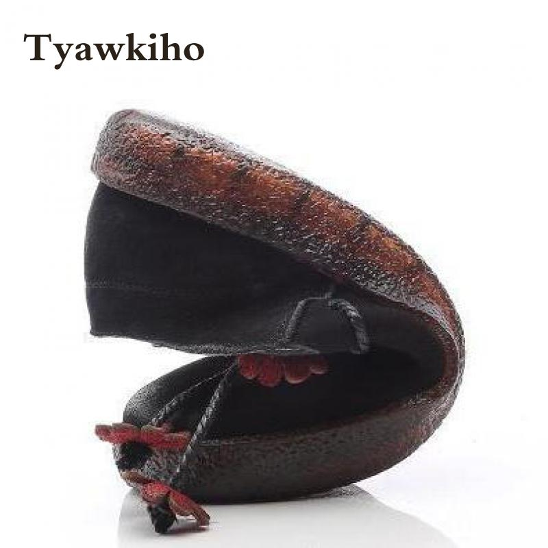 Tyawkiho Genuine Leather Women Flats Flower Spring Shoes 2018 Casual Leather Loafers Women Retro Flat Slip On Handmadde Moccasin cow leather women s loafers casual women flat shoes hollow out moccasin driving shoes indoor flat slip on slippers sdt02
