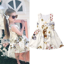 Summer Toddler Girl Dress 2019 Baby Girl Clothes Kids Dresses For Girls Print Flower Party Princess Children Dress 1 2 3 4 Years цена 2017