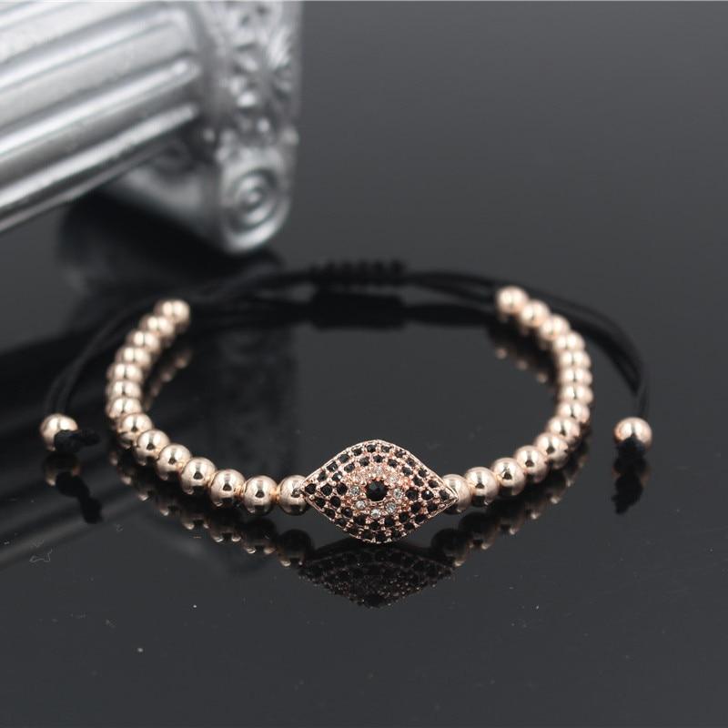 PINIYA Handmade Anil Arjandas Miro Pave Setting CZ Eye Charm Braiding Macrame Bracelets Bangles Jewelry For Men Women Gift in Charm Bracelets from Jewelry Accessories