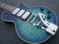Wholesale High Quality Gbson Diamond Logo Lp Custom Blue Quilted Top Electric Guitar With Bigsby China