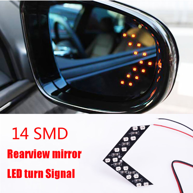 2 Pcs/lot 14 SMD LED Arrow Panel For Car Rear View Mirror Indicator Turn Signal Lights Car LED Rearview Lamps EJ
