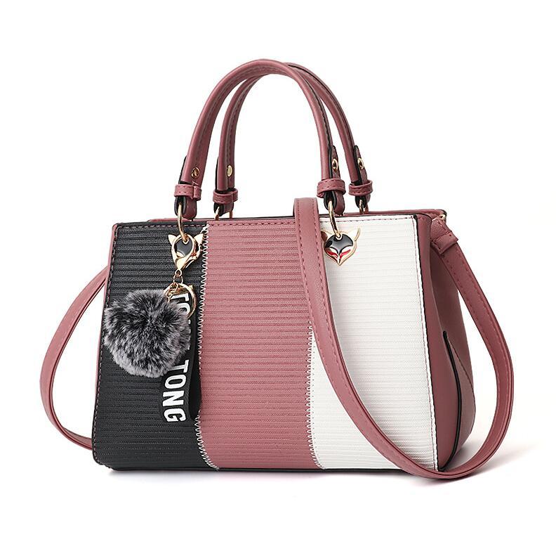 Women Hairball Ornaments Totes Patchwork Handbag Party Purse Ladies Messenger Crossbody Shoulder Bags Women Handbags