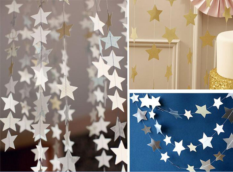 5pcs/Lot 4 Meters Blue/Silver/Gold Paper Star Garland For Wedding Party Birthday Christmas Holiday Tree Venue Decoration