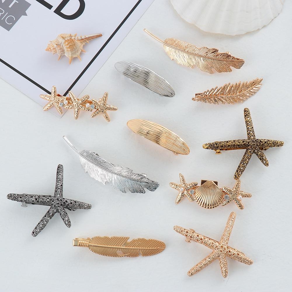 Модная Геометрическая металлическая форма листа заколки для волос для женщин жемчужные заколки в виде морской звезды перо заколки для воло...