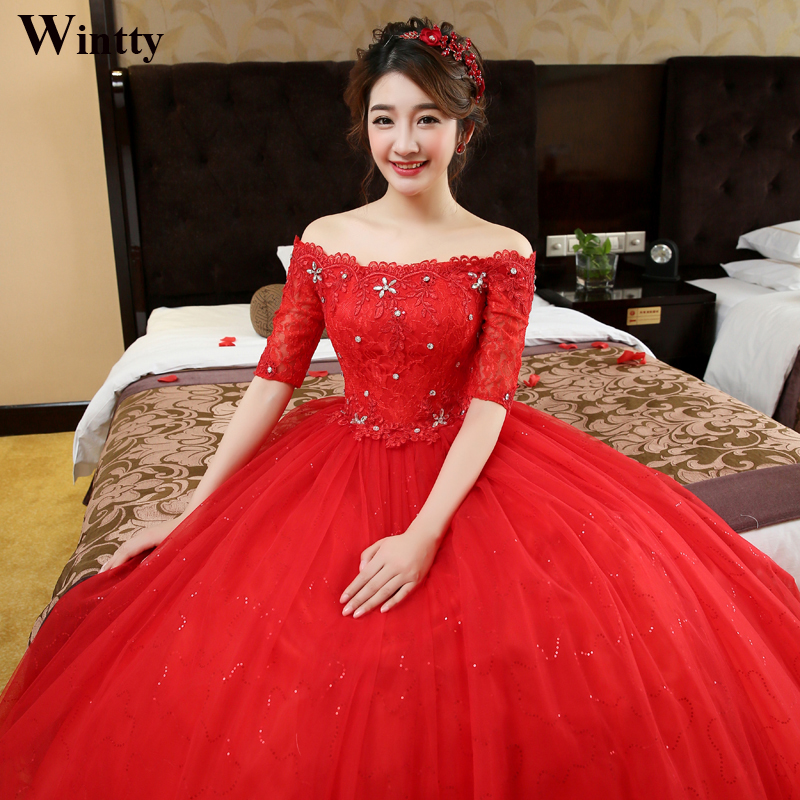 Buy wintty high quality lace cheap red for Colored wedding dresses plus size