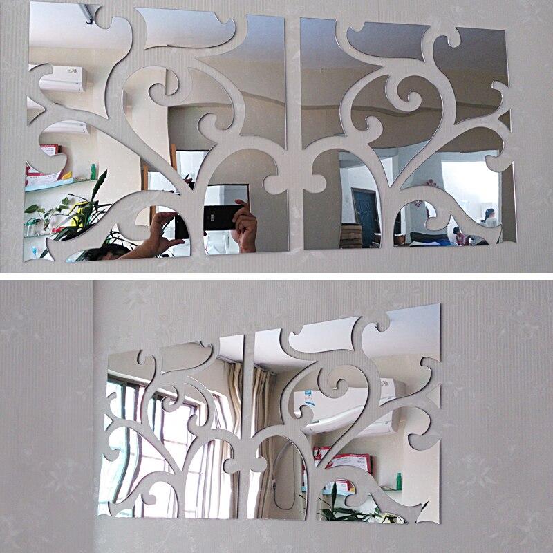 Hot big 3d stickers muraux décoratifs salon maison moderne acrylique grand miroir nature morte surface mode bricolage sticker mural
