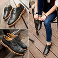 New 2017 Spring Autumn Fashion Casual Men Shoes Lace-up Breathable Retro Genuine Leather Shoes 39-44 Discount Free Shipping