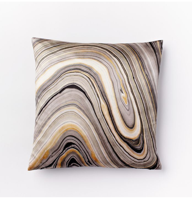 2014 Modern Marble Print Silk Cotton American Pillow Cushion Cover Feather Grey Pillow Case No core for Couch Bed Sofa
