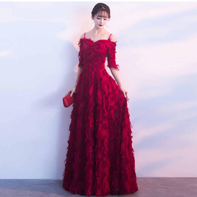 FADISTEE Nuovo arrivo lungo elegante vestito da partito di promenade abiti da cerimonia abito di pizzo mezze maniche semplice Borgogna abito da sera