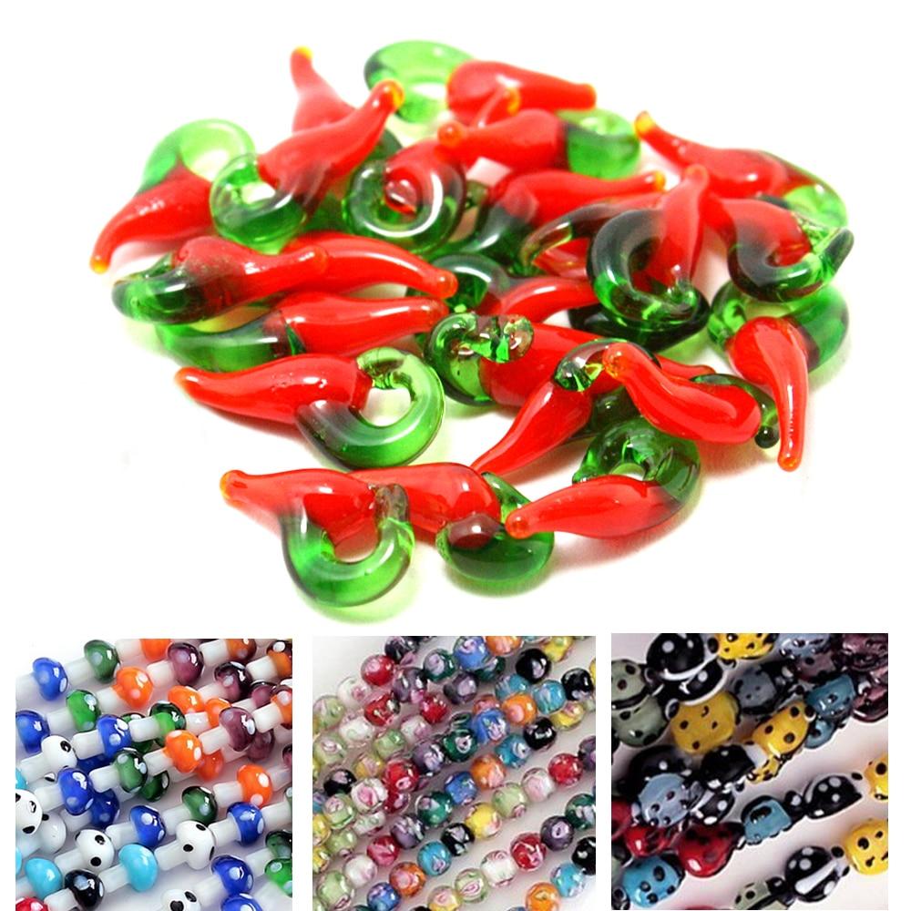 Beautiful Kids Jewelry Making DIY Beads Strand Millefiori Flower/Eye/Ladybrid/Mushroom/Chili Shape Lampwork Glass Spacer Beads(China)