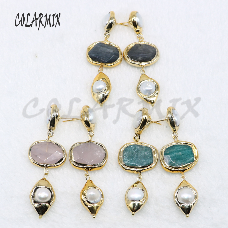 4 Pairs Gold color plated stone earrings fashion jewelry earrings Gift for lady Mix color stone