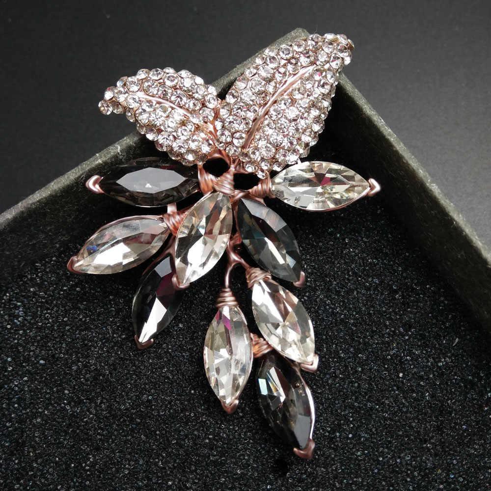 Cindy Xiang Kristal Besar Bunga Besar Bros Anggur Pin dan Bros Pernikahan Perhiasan Perhiasan Korsase Gaun Mantel Aksesoris
