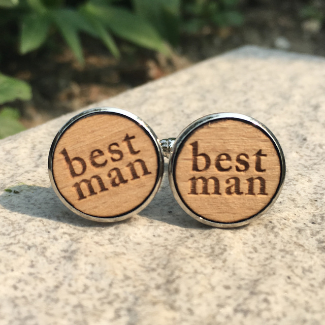 Handmade Wood Cufflinks Wooden Cuff Link Unique Wedding Favor Rustic X 1 Pair