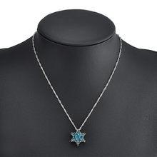 Bohemia floco de neve corrente link colar prata-placa liga pingente longo azul camisola colar inverno jóias collier femme collana