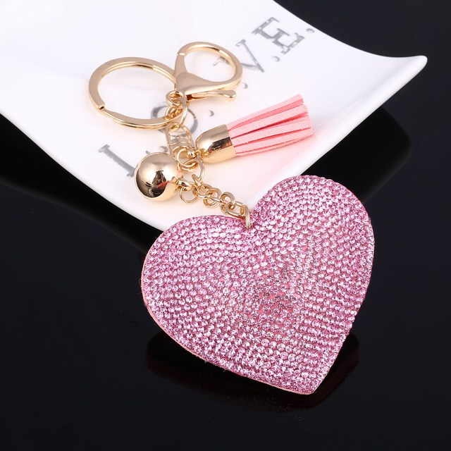 ZOSH Heart Keychain Leather Tassel Key Holder Metal Crystal Key Chain Keyring Charm Bag Auto Pendant Gift Wholesale Price 2