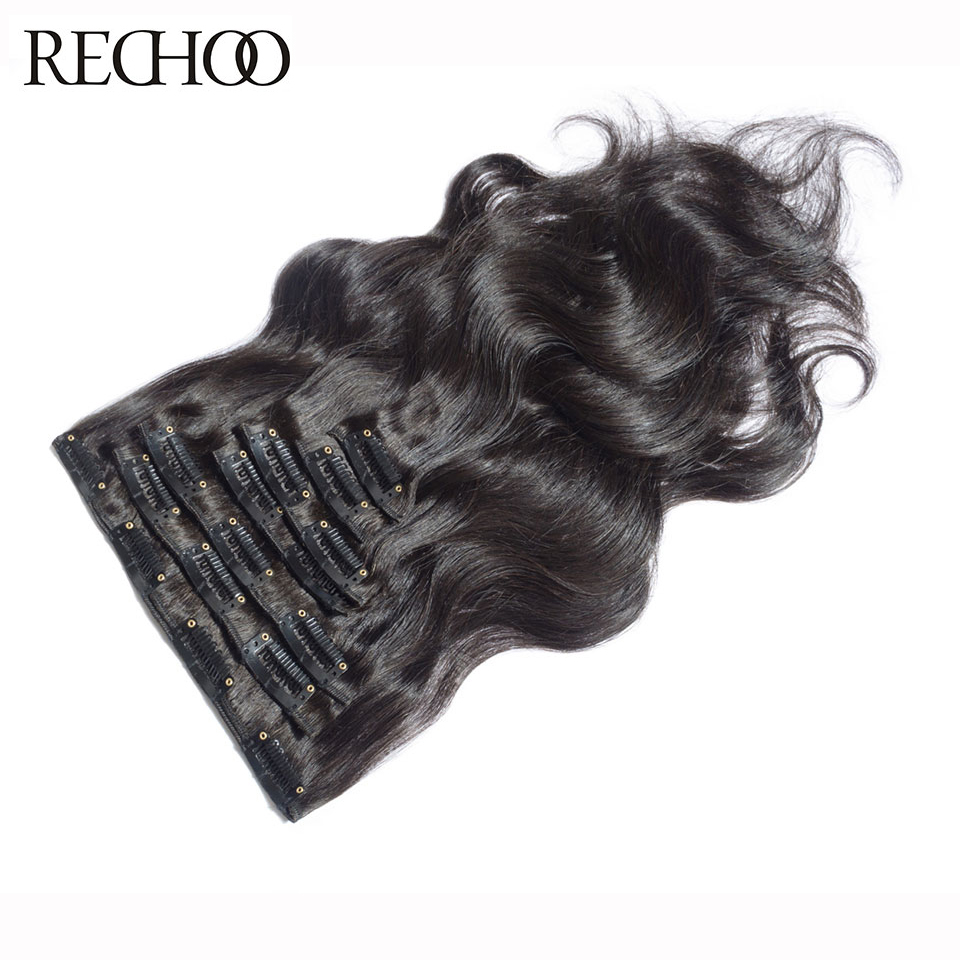 ФОТО Rechoo Body Wave 16-26 Inch 7Pcs Brazilian Non-Remy Clip In Human Hair Extensions 1B Natural Color 140 Gram Full Head Set