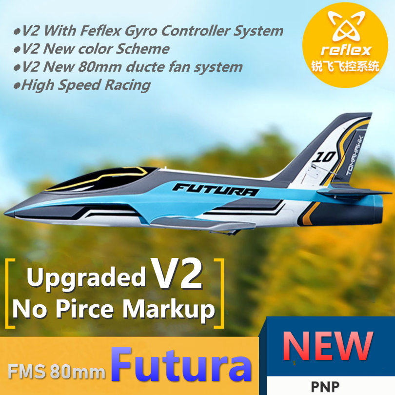 FMS RC Airplane 80mm Ducted Fan EDF Jet Futura V2 with Reflex Gyro  Controller System High Speed Model Plane Aircraft PNP EPO