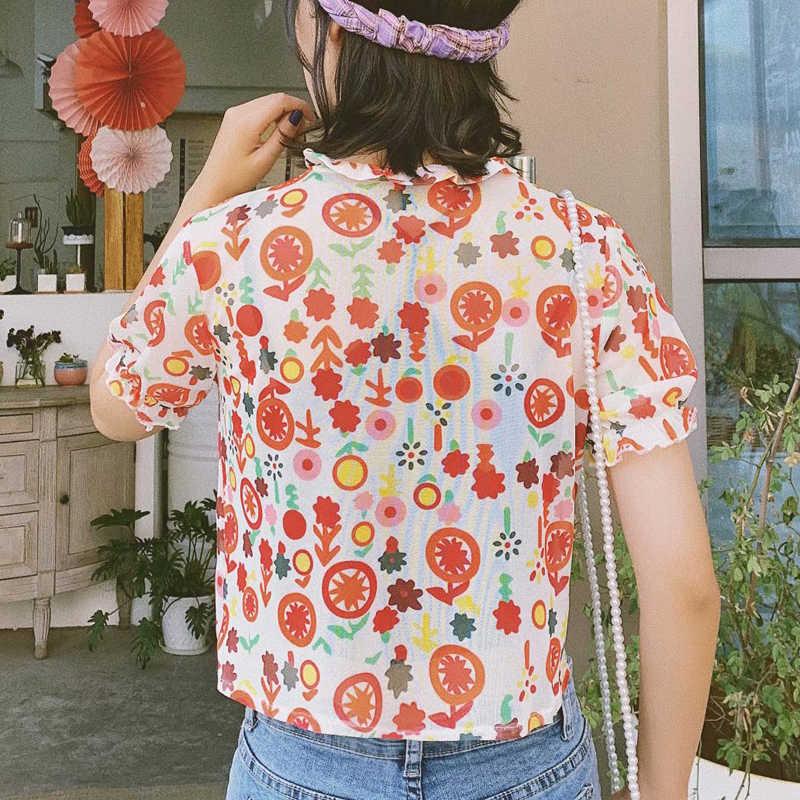 קוריאני קיץ סגנון נשים Ruched V-צוואר כתום סודה מודפס קצר שרוול רשת למעלה חולצה נשים צווארון V רשת קצר שרוול טי