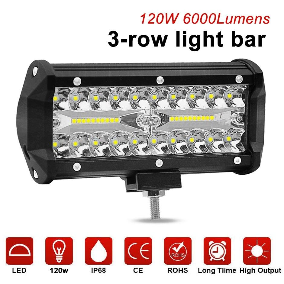 7 pouces 120 w LED light work bar combo faisceau de voiture lumières de Conduite pour Hors Route camion 4WD 4x4 UAZ moto rampe 12 v 24 v auto brouillard lampe