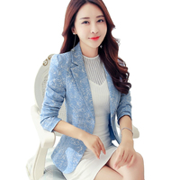 Small Blazers Women Spring Autumn Fashion Long sleeve Jacquard Suits Female Casual Tops Slim Blazers Women Short Blazers 2515