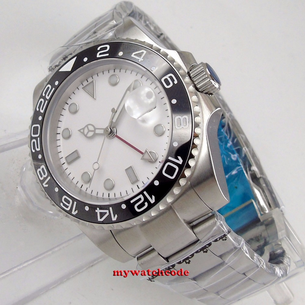 40mm bliger white sterile dial luminous GMT black ceramic bezel sapphire glass automatic mens watch цена и фото