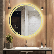Round Smart LED Mirror Bathroom 50 60 70 80cm Big Hotel Glass Mirror Wall 5mm thick Touchscreen Bath Mirrors Display Temperature 90 240v framed mirror for bath led frame bath mirror in bathroom bluetooth illuminated piegel badkamer wall ip44 5070 6080