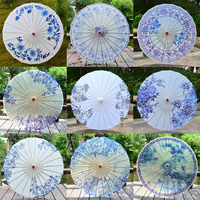 Chinese Style Handmade Paper Craft Umbrella Cosplay Stage Performance Roof Ceiling Decoration Blue And White Porcelain