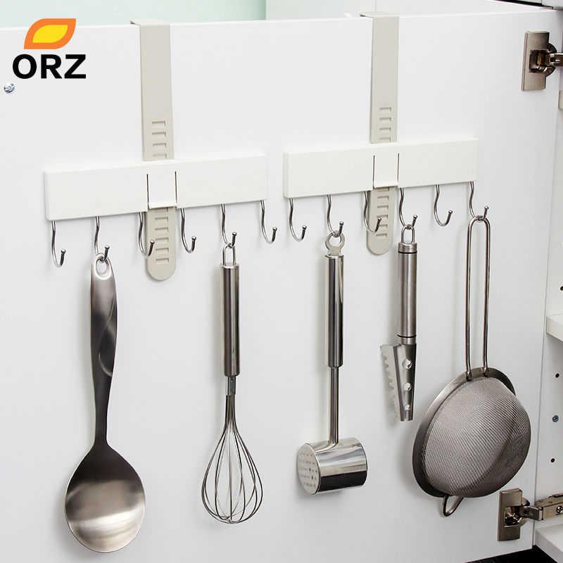 ORZ 2PCS Kitchen Cupboard Hook Adjustable Cabinet Door Hanger With 6 Hooks Kitchen Bathroom Office Storage Organizer Holder Rack