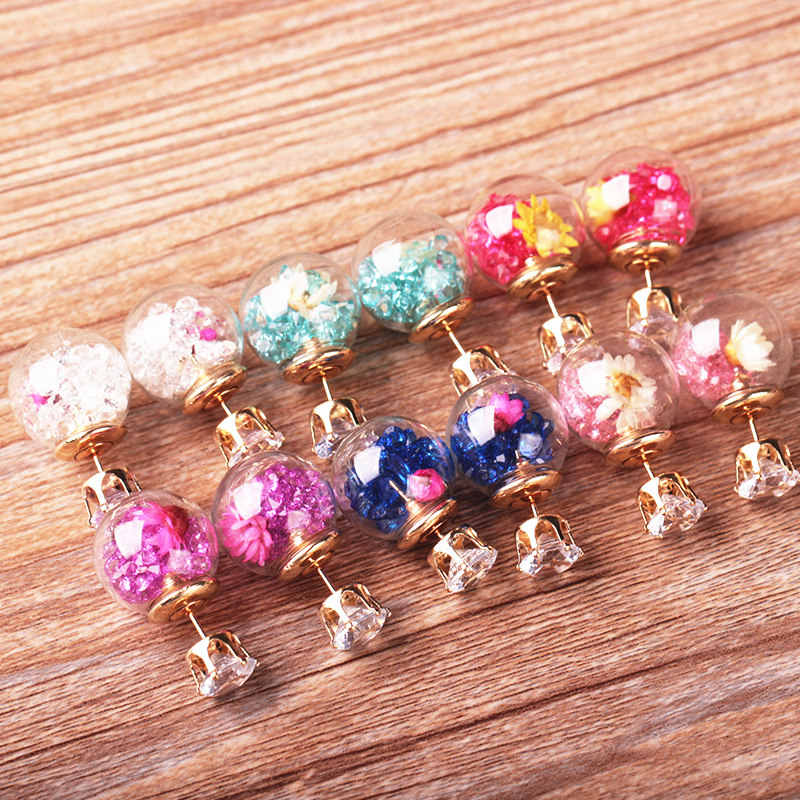 2018 Hot Broken Crystal Glass Ball Flower Stud Earrings For Women Double Sided Gold earrings plating Romantic fashion Jewelry