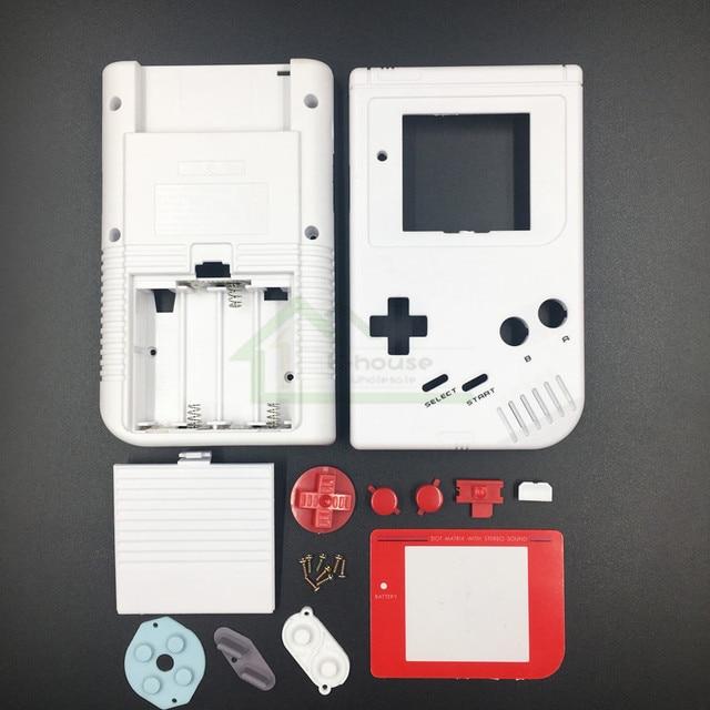 E evi Gameboy Klasik Beyaz Renk Yedek Konut Shell Kılıf Kapak GB Yağ Oyun Konsolu Kırmızı düğmeler