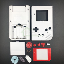 E house for Gameboy Classic White Color Replacement Housing Shell Case Cover for GB Fat Game Console with Red Buttons