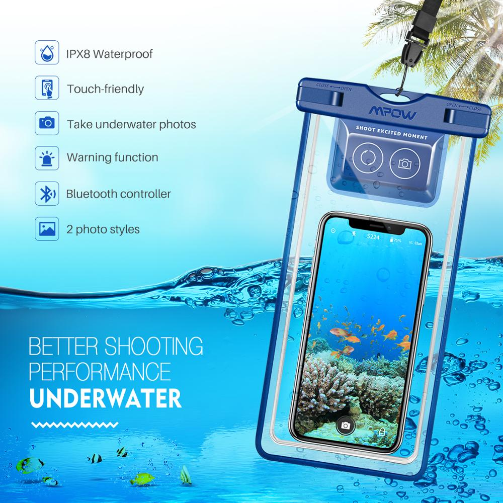 Mpow IPX8 Waterproof Phone Pouch Case Swimming Bag Underwater Dry Bag with Bluetooth Controller for iPhone X 8 pochette etanche in Phone Pouches from Cellphones Telecommunications