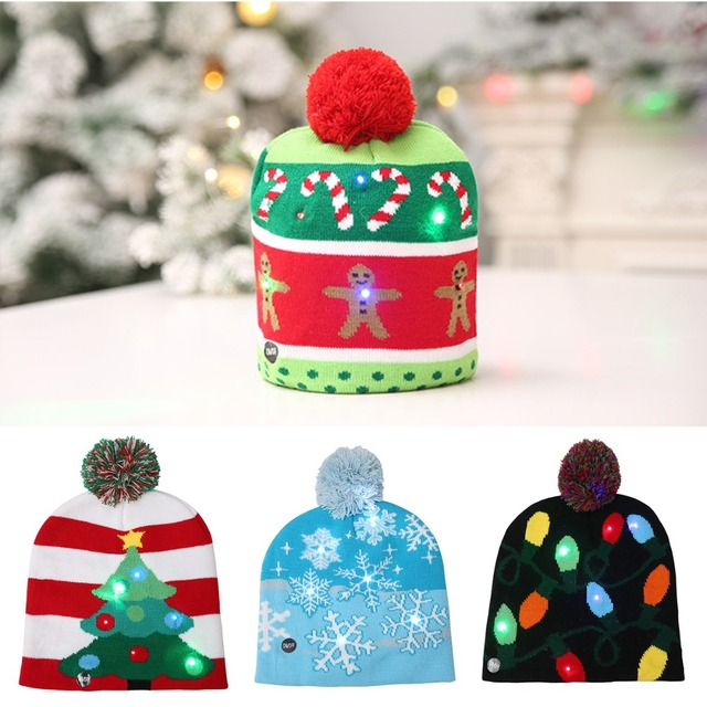 56d060fe08419 New Fashion 2018 Lovely Christmas Hat LED Caps Santa Claus Snowflake Soft  Warm Knitted Cap Kids  Xmas Gift