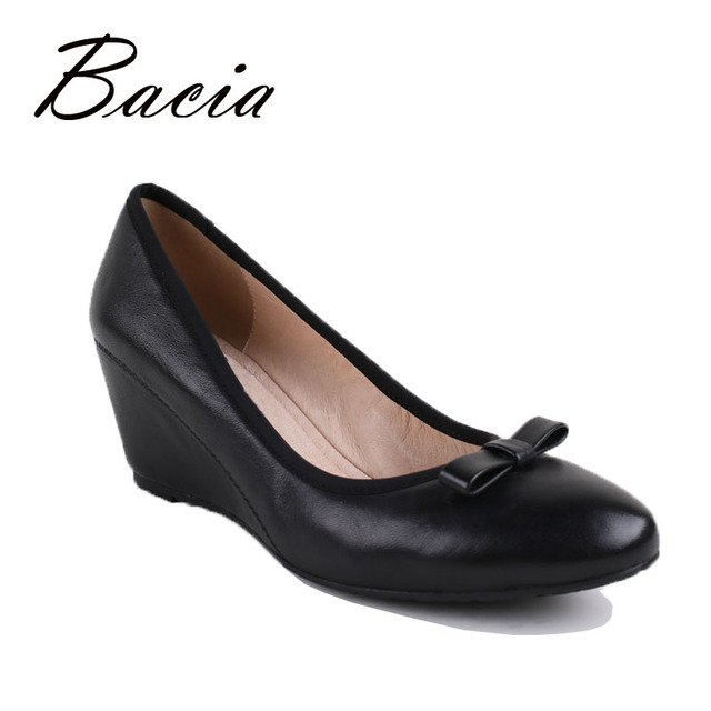 Bacia 100% Genuine Leather Wedges Round Head Black High Heels For Women Natural Cowhide Soft Pumps Bowtie Casual Shoe 2016 VB010