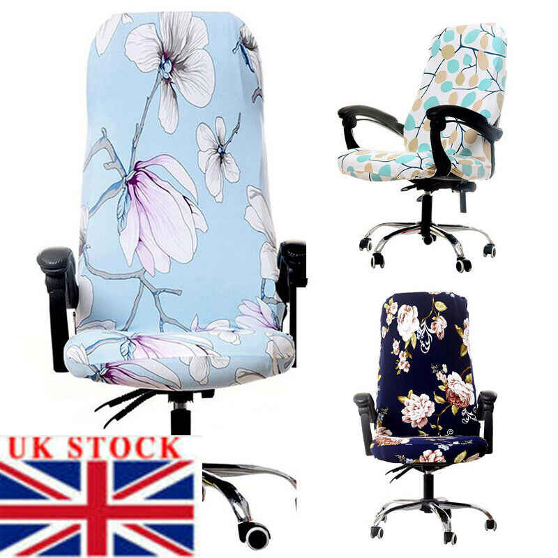 1X Chair Cover Stretch Floral Spandex Covers for Rotating Office Computer Chairs