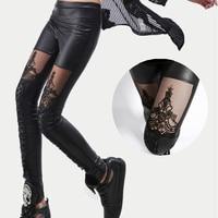 2015 High Quality Wholesale Punk Black Faux Leather Gothic Lace Legging Women Bandage Lace Up Leggings