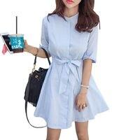 Bow Tie High Waist Women Dress Summer Striped Cotton Buttons Korean Style Office Dress Female Shirt