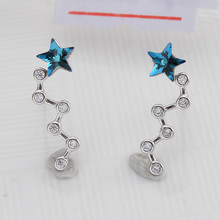 Bella Fashion 925 Sterling Silver Shooting Star Bridal Earrings Austrian Crystal Crawler Earrings For Wedding Party Jewelry Gift