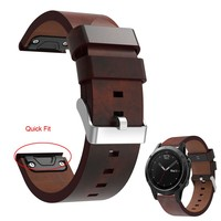 Luxury Leather Strap Replacement 22mm Watch Band With Quick Fit Button For Garmin Fenix 5 Smart