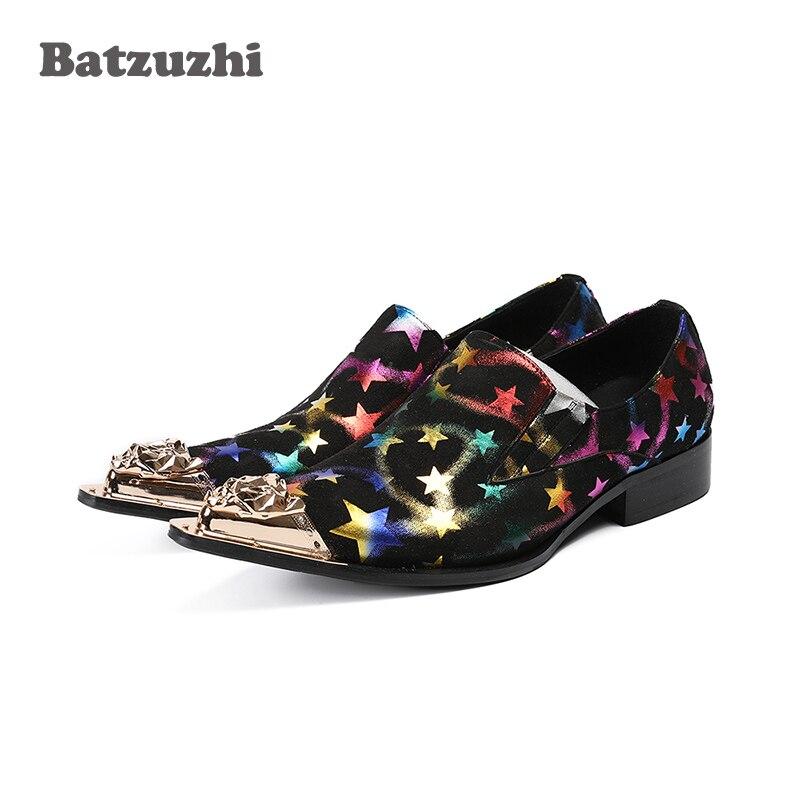 Batzuzhi Luxury Men Shoes Gold Metal Tip Leather Dress Shoes Black Suede with Color Stars Rock Party and Wedding Dress Shoes preppy men s suede casual shoes with color block and stitching design