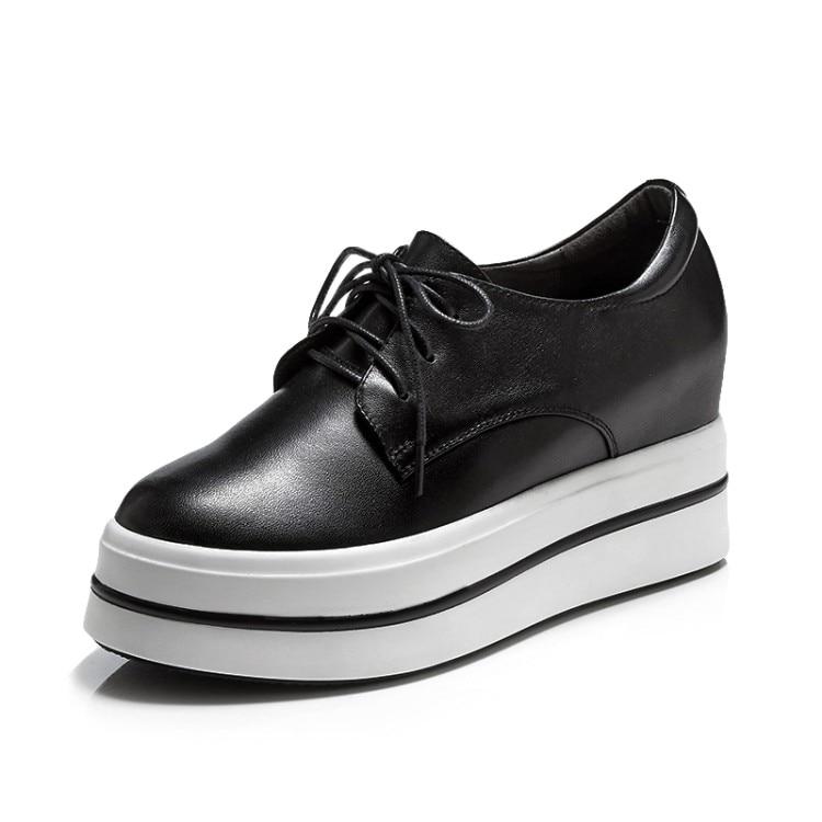 blanco 2018 Negro De Mujer Genuino Tacón Alto  zorssar  Altura Bombas Moda  Tacones Casuales Zapatos Plataforma ... 8769d76f22b9