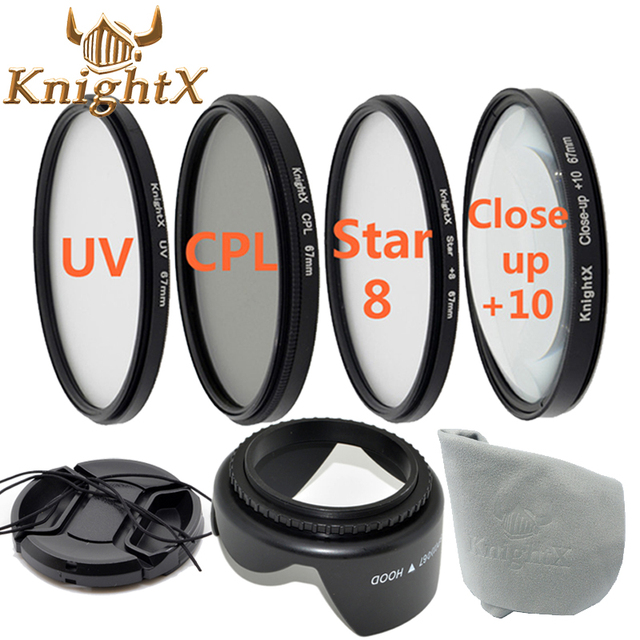KnightX UV FLD CPL Star ND Close up lens Filter Set for Sony Nikon Canon EOS 1100D 1000D 600D 550D 49mm 52mm 55mm 58mm 62mm 67mm
