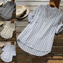 Womens Summer Striped V Neck Blouses Loose Baggy Tops Tunic Plus Size