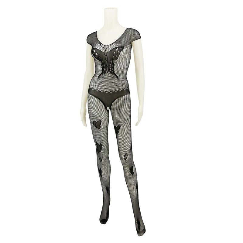 Sexy Lady Lingerie Sleepwear Babydoll Bodysuit Mesh Butterfly Pattern Bodystocking Open Crotch Erotic Lingerie Women C8981